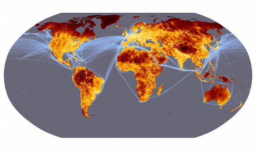 Travel time to major cities (in hours and days) and shipping lane density